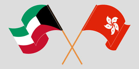 Crossed and waving flags of Hong Kong and Kuwait. Vector illustration 矢量图像