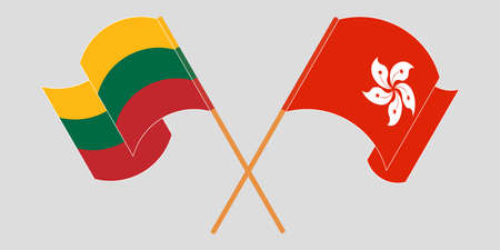 Crossed and waving flags of Hong Kong and Lithuania. Vector illustration