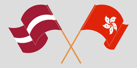 Crossed and waving flags of Hong Kong and Latvia. Vector illustration
