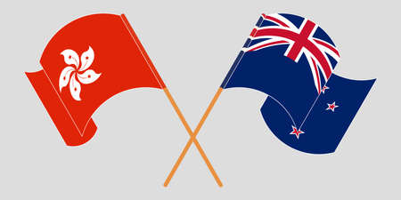 Crossed and waving flags of Hong Kong and New Zealand. Vector illustration