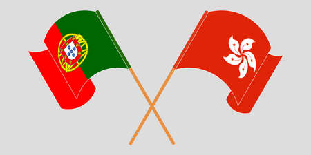Crossed and waving flags of Hong Kong and Portugal. Vector illustration 矢量图像