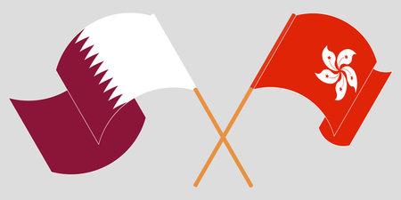 Crossed and waving flags of Hong Kong and Qatar. Vector illustration