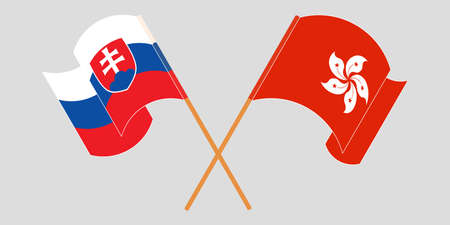 Crossed and waving flags of Hong Kong and Slovakia. Vector illustration 矢量图像