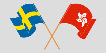 Crossed and waving flags of Hong Kong and Sweden. Vector illustration