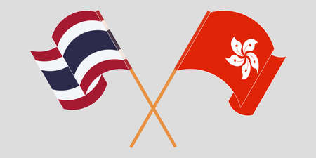 Crossed and waving flags of Hong Kong and Thailand. Vector illustration