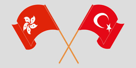 Crossed and waving flags of Hong Kong and Turkey. Vector illustration