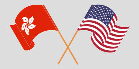 Crossed and waving flags of Hong Kong and the USA. Vector illustration 矢量图像