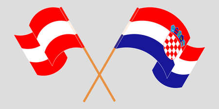 Crossed and waving flags of Croatia and Austria. Vector illustration