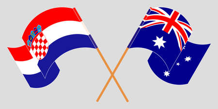 Crossed and waving flags of Croatia and Australia. Vector illustration