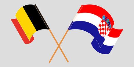 Crossed and waving flags of Croatia and Belgium. Vector illustration 矢量图像