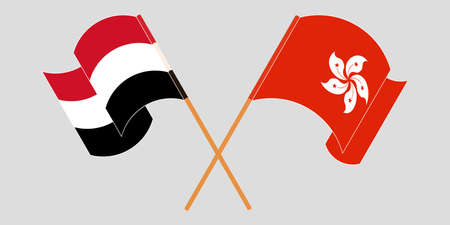 Crossed and waving flags of Hong Kong and Yemen. Vector illustration