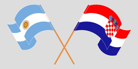 Crossed and waving flags of Croatia and Argentina. Vector illustration