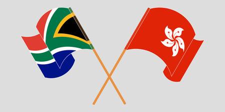 Crossed and waving flags of Hong Kong and the RSA. Vector illustration 矢量图像