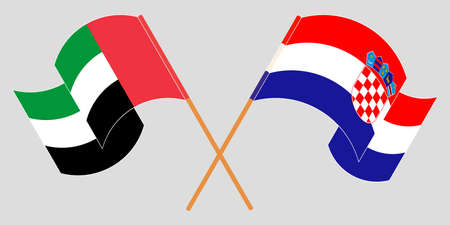 Crossed and waving flags of Croatia and the United Arab Emirates. Vector illustration 矢量图像