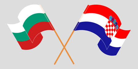 Crossed and waving flags of Croatia and Bulgaria. Vector illustration