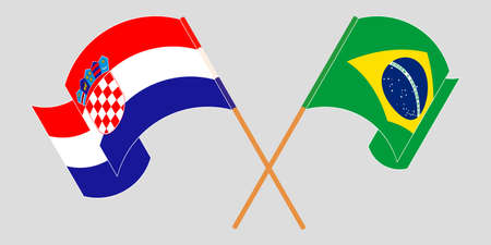 Crossed and waving flags of Croatia and Brazil. Vector illustration 矢量图像