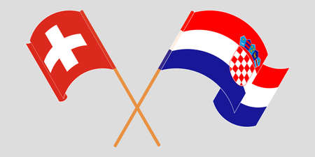 Crossed and waving flags of Croatia and Switzerland. Vector illustration