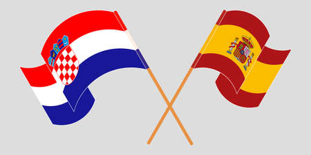 Crossed and waving flags of Croatia and Spain. Vector illustration 矢量图像