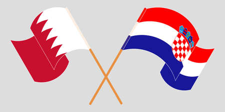 Crossed and waving flags of Croatia and Bahrain. Vector illustration 矢量图像