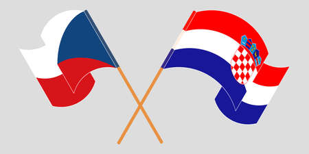 Crossed and waving flags of Croatia and Czech Republic. Vector illustration