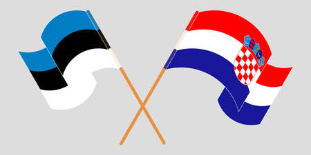 Crossed and waving flags of Croatia and Estonia. Vector illustration