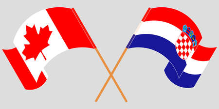 Crossed and waving flags of Croatia and Canada. Vector illustration