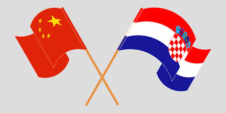 Crossed and waving flags of Croatia and China. Vector illustration 矢量图像