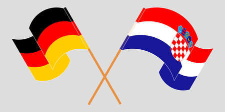 Crossed and waving flags of Croatia and Germany. Vector illustration
