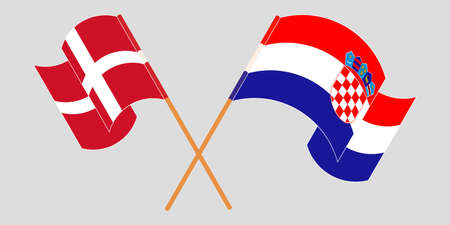 Crossed and waving flags of Croatia and Denmark. Vector illustration 矢量图像