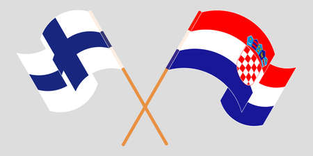 Crossed and waving flags of Croatia and Finland. Vector illustration 矢量图像
