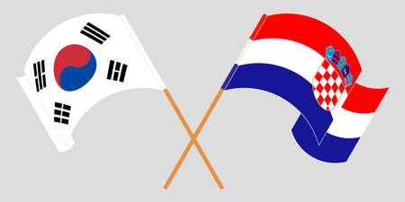 Crossed and waving flags of Croatia and South Korea. Vector illustration 矢量图像