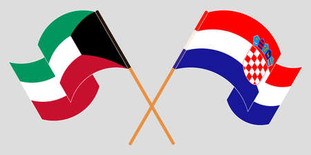 Crossed and waving flags of Croatia and Kuwait. Vector illustration