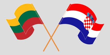 Crossed and waving flags of Croatia and Lithuania. Vector illustration