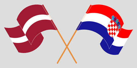 Crossed and waving flags of Croatia and Latvia. Vector illustration