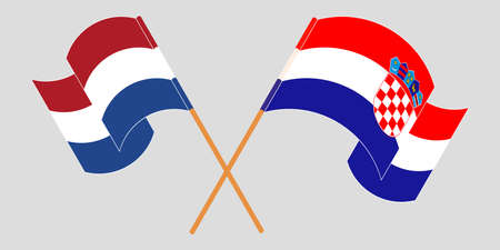 Crossed and waving flags of Croatia and the Netherlands. Vector illustration 矢量图像