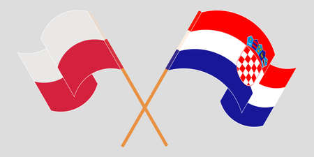 Crossed and waving flags of Croatia and Poland. Vector illustration