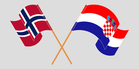 Crossed and waving flags of Croatia and Norway. Vector illustration