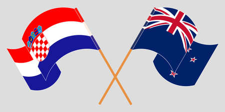 Crossed and waving flags of Croatia and New Zealand. Vector illustration