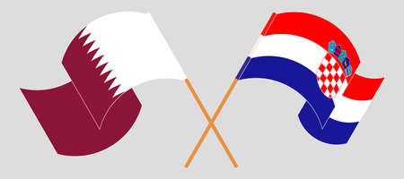 Crossed and waving flags of Croatia and Qatar. Vector illustration