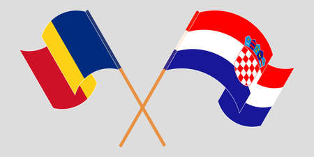 Crossed and waving flags of Croatia and Romania. Vector illustration