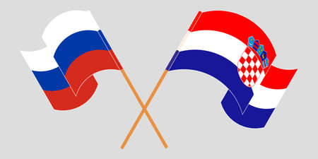 Crossed and waving flags of Croatia and Russia. Vector illustration