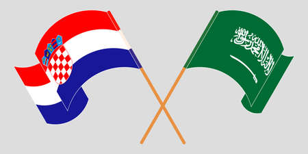 Crossed and waving flags of Croatia and the Kingdom of Saudi Arabia. Vector illustration