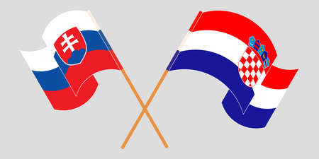 Crossed and waving flags of Croatia and Slovakia. Vector illustration