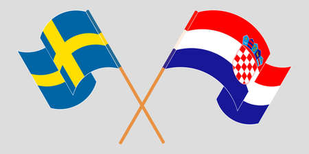 Crossed and waving flags of Croatia and Sweden. Vector illustration 矢量图像