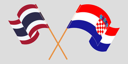 Crossed and waving flags of Croatia and Thailand. Vector illustration 矢量图像