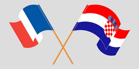 Crossed and waving flags of Croatia and France. Vector illustration