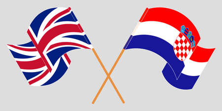 Crossed and waving flags of Croatia and the UK. Vector illustration