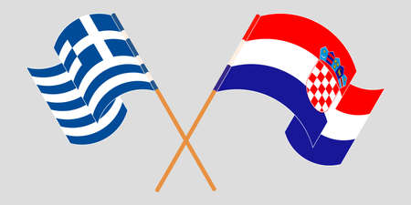 Crossed and waving flags of Croatia and Greece. Vector illustration