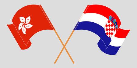 Crossed and waving flags of Croatia and Hong Kong. Vector illustration 矢量图像