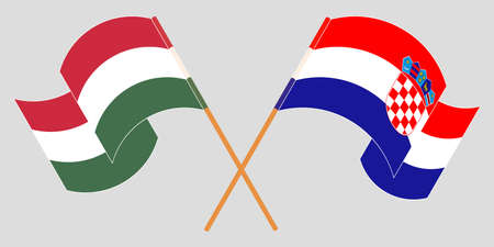 Crossed and waving flags of Croatia and Hungary. Vector illustration 矢量图像